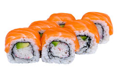 Salmon sushi rolls isolated on white Royalty Free Stock Images