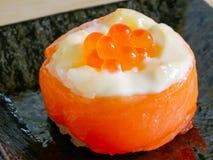 Salmon sushi rolls, Japanease foood. Close up salmon sushi rolls, Japanease foood Stock Photography