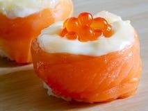 Salmon sushi rolls, Japanease foood. Closeup salmon sushi rolls, Japanease foood Stock Photography