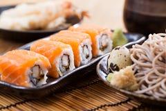 Salmon sushi rolls. Japanese food royalty free stock images