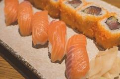 Salmon sushi rolls Stock Photo