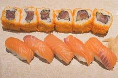 Salmon sushi rolls Stock Photos