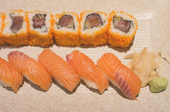 Salmon sushi rolls Royalty Free Stock Photography