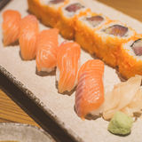 Salmon sushi rolls Royalty Free Stock Photos