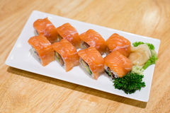 Salmon sushi rolls Stock Photo