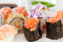 Salmon sushi rolls on the plate Stock Photo