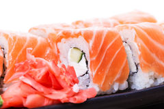 Salmon sushi rolls Royalty Free Stock Image