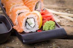 Salmon sushi rolls Stock Image