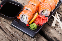 Salmon sushi rolls Stock Photography