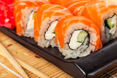 Salmon sushi rolls Royalty Free Stock Photos