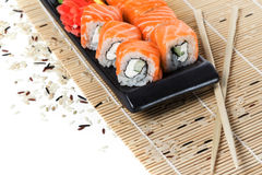 Salmon sushi rolls Royalty Free Stock Images