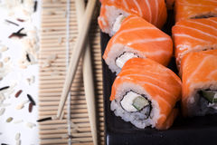 Salmon sushi rolls Stock Photos