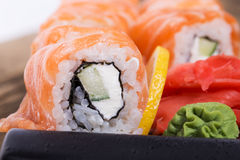 Salmon sushi rolls Stock Images