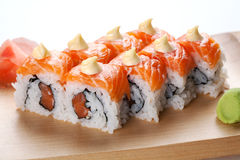Salmon sushi rolls. Stock Photography
