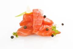 Salmon sushi - sashimi. Sashimi sushi. Raw salmon pieces arranged on white background stock photos