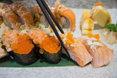 Sushi sashimi and sushi rolls set Royalty Free Stock Photos
