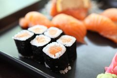 Salmon Sushi set. On a plate royalty free stock image