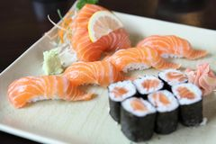 Salmon Sushi set. In close up stock photography