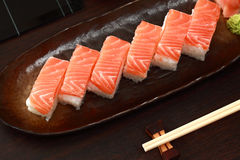 Salmon sushi set Royalty Free Stock Photo