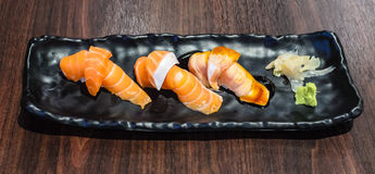 Salmon Sushi Set. Salmon Sushi Set ready to serve in japanese reataurant Royalty Free Stock Photo
