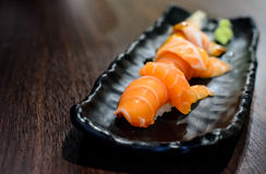 Salmon Sushi Set. Salmon Sushi Set ready to serve in japanese reataurant Stock Photography