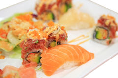 Salmon sushi and spicy tuna rolls on plate isolated Stock Photography