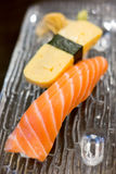 Salmon sushi and Tamagoyaki Royalty Free Stock Images