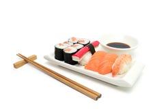 Salmon sushi tray Stock Images