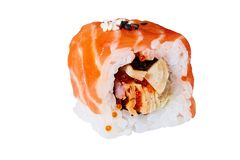 Salmon sushi on a white background royalty free stock photo