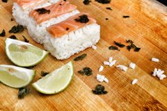 Salmon Sushi. Stock Photo
