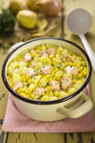 Salmon sweet corn chowder royalty free stock photography