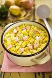 Salmon sweet corn chowder Royalty Free Stock Images