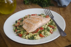 Salmon with tabbouleh Royalty Free Stock Photo