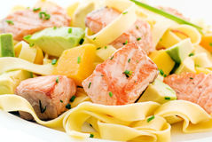 Salmon with Tagliatelle Royalty Free Stock Photography