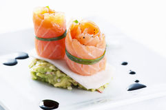 Salmon tapas rolls Stock Photography