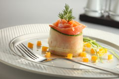 Salmon Tartar. Raw salmon with yellow bell pepper as garnish Stock Photography