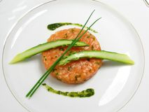 Salmon tartar with asparagus stock image