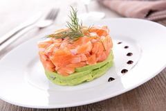 Salmon tartar and avocado Stock Photography