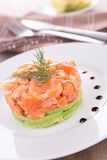 Salmon tartar and avocado Royalty Free Stock Photography