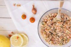 Salmon tartar ingredients Royalty Free Stock Image