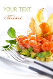 Salmon Tartar over White Stock Image
