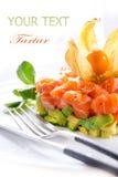 Salmon Tartar over White Stock Image