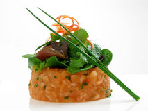 Salmon tartar with salad 2. Salmon tartar with salad and chives royalty free stock image