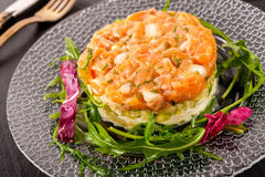 Salmon tartar with salad Royalty Free Stock Photos