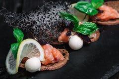 Salmon tartare с здравицами хлеба рож Стоковые Изображения RF