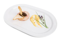 Salmon tartare with black truffle sauce. Royalty Free Stock Images