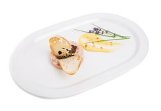 Salmon tartare with black truffle sauce. Royalty Free Stock Photo
