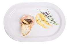 Salmon tartare with black truffle sauce. Stock Photos