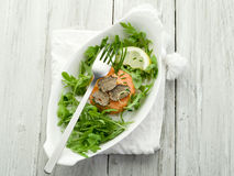 Salmon tartare with truffle Stock Photos