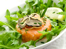 Salmon tartare with truffle Royalty Free Stock Photo